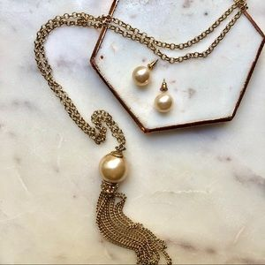 Champagne Faux Pearl Necklace & Earring set